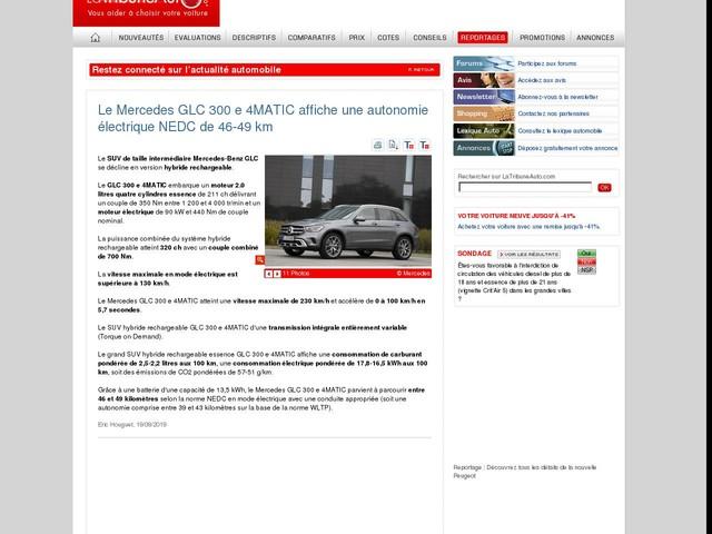 Le Mercedes GLC 300 e 4MATIC affiche une autonomie électrique NEDC de 46-49 km