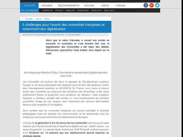 3 challenges pour l'avenir des universités françaises et notamment leur digitalisation