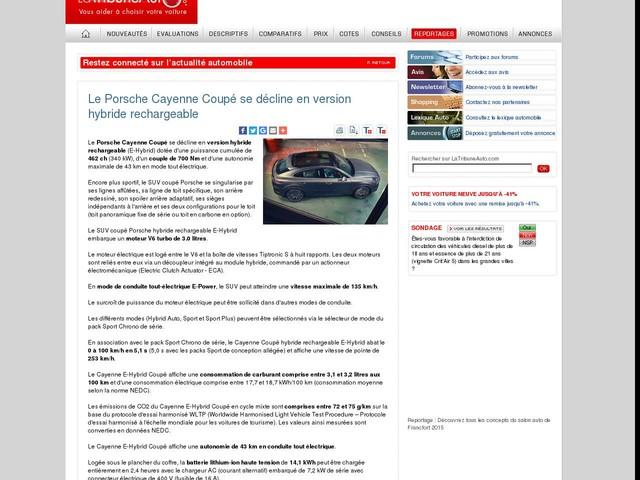Le Porsche Cayenne Coupé se décline en version hybride rechargeable