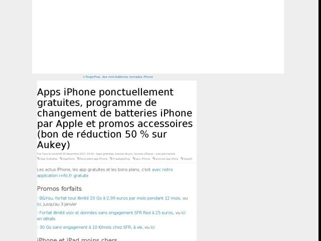 Apps iPhone ponctuellement gratuites, programme de changement de batteries iPhone par Apple et promos accessoires (bon de réduction 50 % sur Aukey)