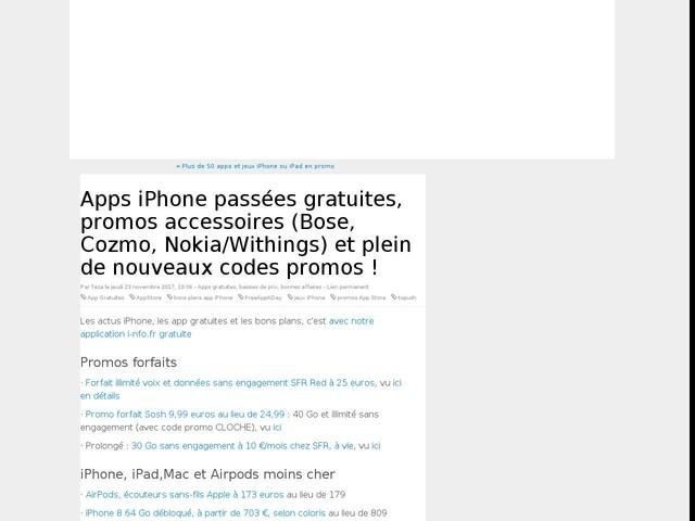 Apps iPhone passées gratuites, promos accessoires (Bose, Cozmo, Nokia/Withings) et plein de nouveaux codes promos !