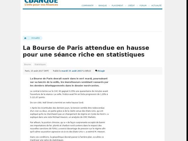 La Bourse de Paris attendue en hausse pour une séance riche en statistiques