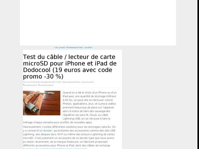 Test du câble / lecteur de carte microSD pour iPhone et iPad de Dodocool (19 euros avec code promo -30 %)