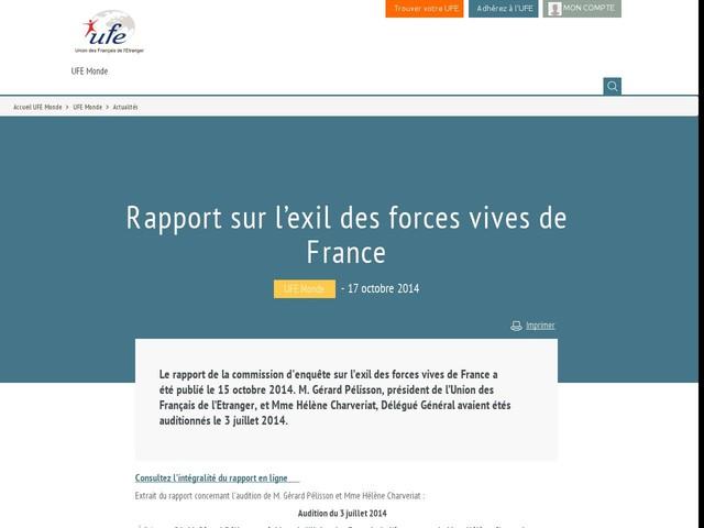 Rapport sur l'exil des forces vives de France