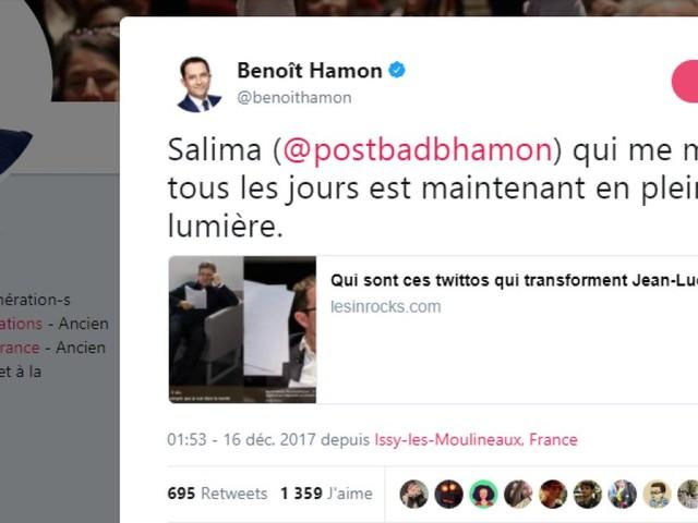 """Sur Twitter, le clin d'œil de Benoît Hamon à cette étudiante qui le """"martyrise tous les jours"""""""