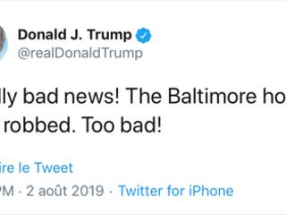 Le président des Etats-Unis se réjouit ironiquement d'un cambriolage perpétré chez un député démocrate