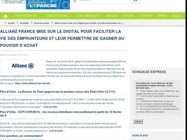 Allianz France mise sur le digital pour faciliter la vie des emprunteurs et leur permettre de gagner du pouvoir d'achat