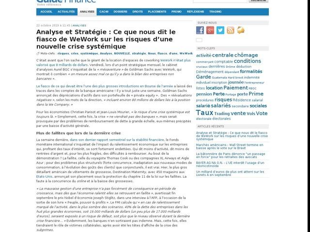 Analyse et Stratégie : Ce que nous dit le fiasco de WeWork sur les risques d'une nouvelle crise systémique