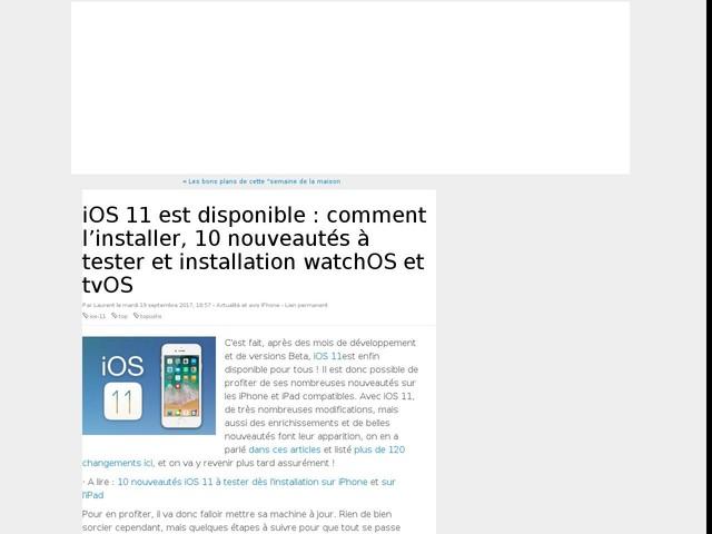 iOS 11 est disponible : comment l'installer, 10 nouveautés à tester et installation watchOS et tvOS