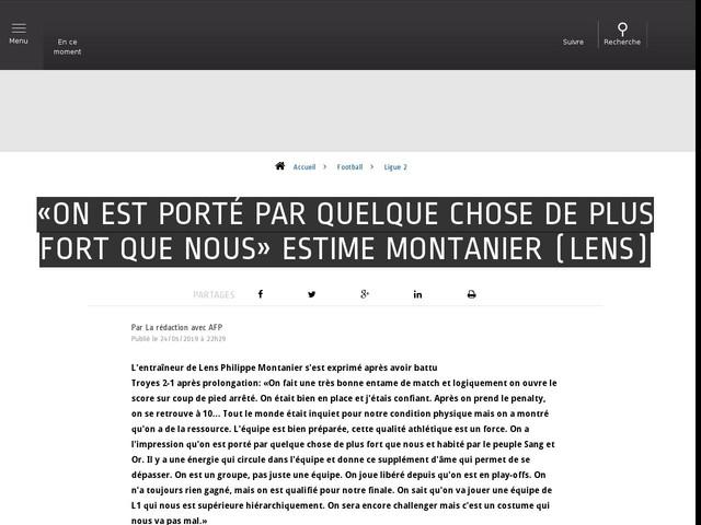 Football - Ligue 2 - «On est porté par quelque chose de plus fort que nous» estime Montanier (Lens)