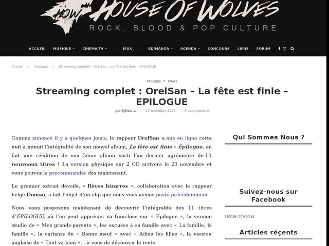 Streaming complet : OrelSan – La fête est finie – EPILOGUE