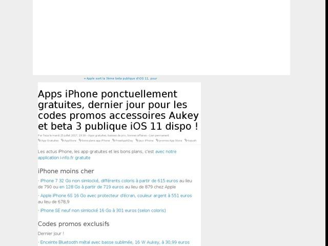Apps iPhone ponctuellement gratuites, dernier jour pour les codes promos accessoires Aukey et beta 3 publique iOS 11 dispo !
