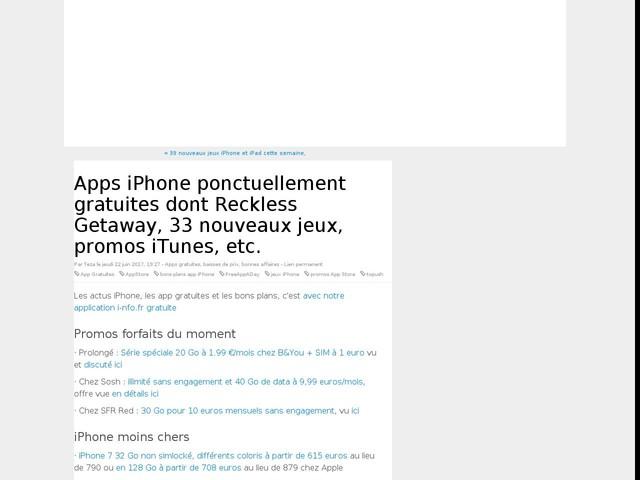 Apps iPhone ponctuellement gratuites dont Reckless Getaway, 33 nouveaux jeux, promos iTunes, etc.
