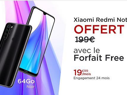 C'est parti pour la nouvelle offre promo Free Mobile sur VeePee : forfait Free + Xiaomi Redmi Note 8T offert