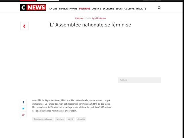L' Assemblée nationale se féminise