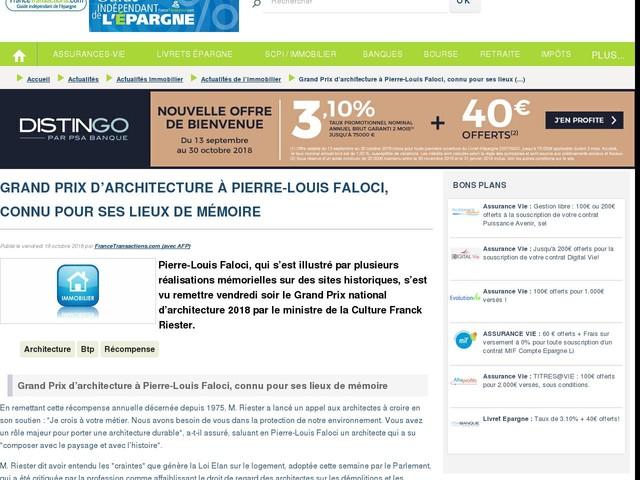 Grand Prix d'architecture à Pierre-Louis Faloci, connu pour ses lieux de mémoire