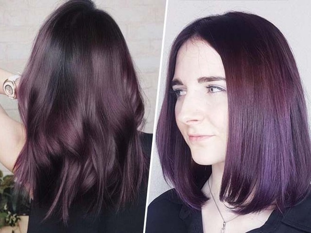 Coloration cheveux tendance : Après le cuivré, c'est l'aubergine qui commence à s'imposer