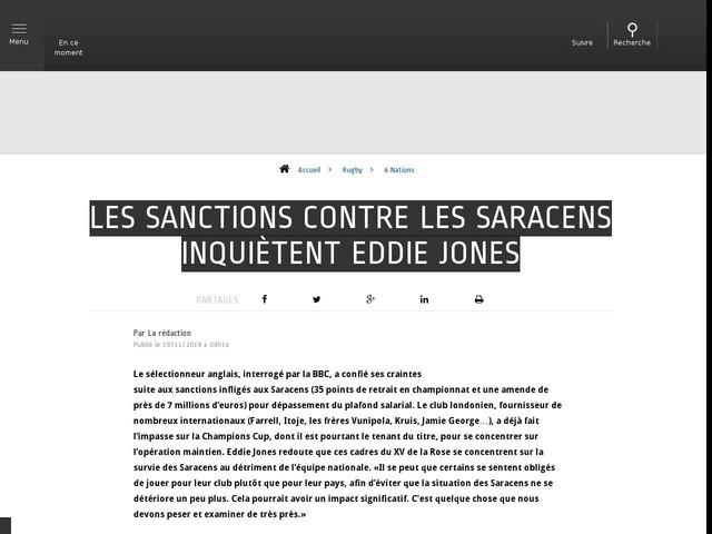 Rugby - 6 Nations - Les sanctions contre les Saracens inquiètent Eddie Jones
