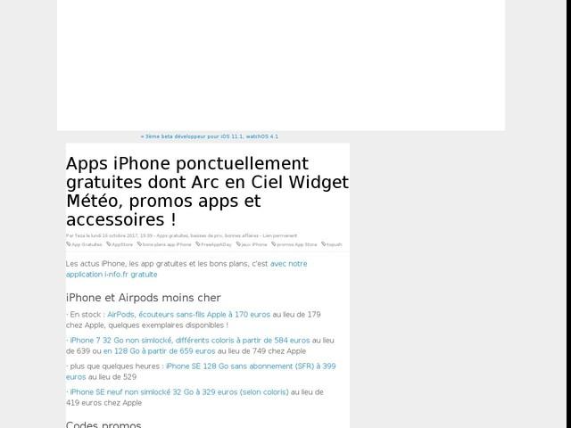 Apps iPhone ponctuellement gratuites dont Arc en Ciel Widget Météo, promos apps et accessoires !