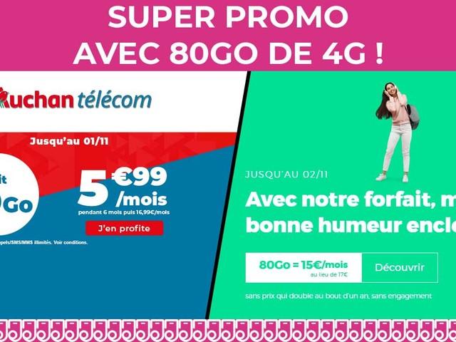 Découvrez deux forfaits mobiles avec 80Go de 4G dès 5,99€/mois !