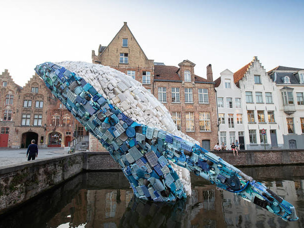 Giant Whale against Ocean's Pollution in Bruges
