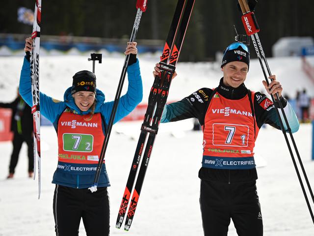 Biathlon: la France remporte le relais mixte simple de Pokljuka