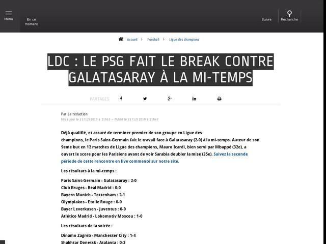 Football - Ligue des champions - Ldc : Le PSG fait le break contre Galatasaray à la mi-temps