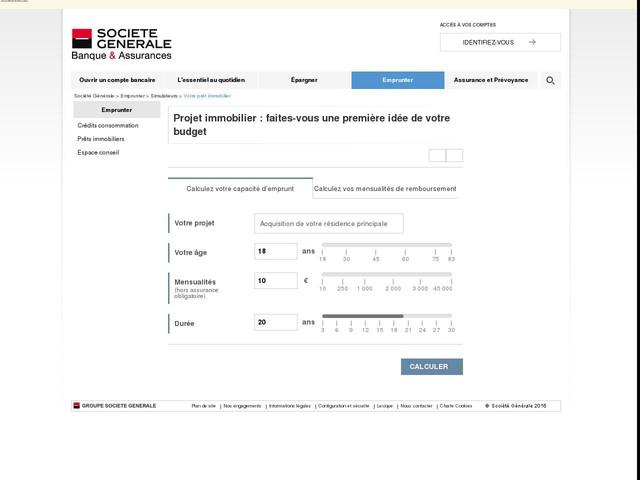 Simulation prêt immobilier - Société Générale