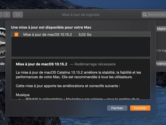 macOS 10.15.2 est disponible en version finale