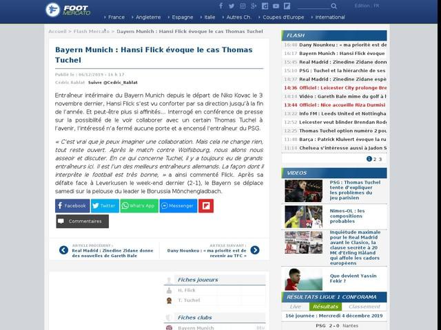 Bayern Munich : Hansi Flick évoque le cas Thomas Tuchel