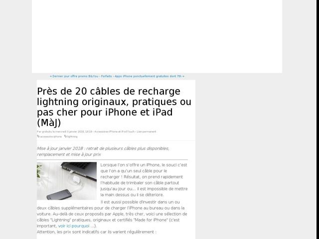 Près de 20 câbles de recharge lightning originaux, pratiques ou pas cher pour iPhone et iPad (MàJ)