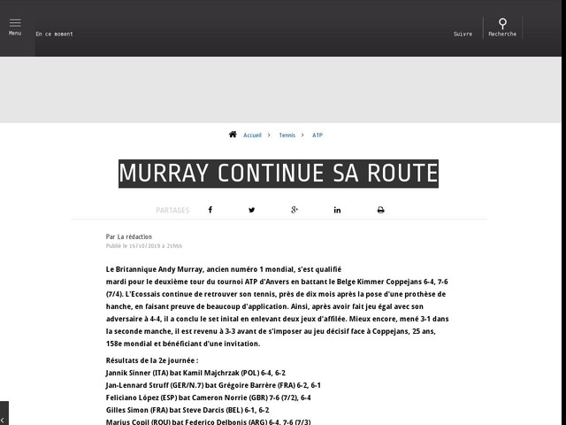 Tennis - ATP - Murray continue sa route