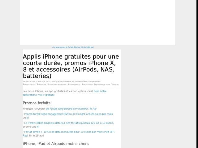Applis iPhone gratuites pour une courte durée, promos iPhone X, 8 et accessoires (AirPods, NAS, batteries)