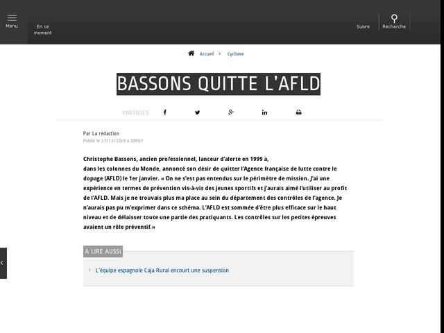 Cyclisme - Bassons quitte l'AFLD