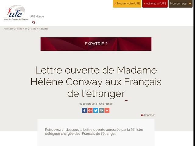 Lettre ouverte de Madame Hélène Conway aux Français de l'étranger