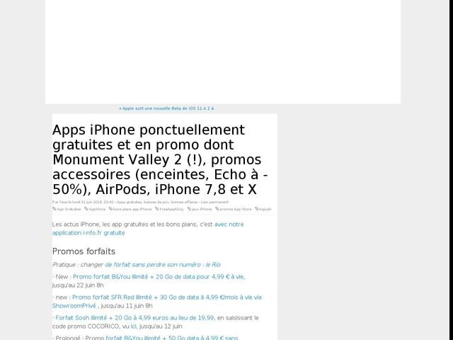 Apps iPhone ponctuellement gratuites et en promo dont Monument Valley 2 (!), promos accessoires (enceintes, Echo à -50%), AirPods, iPhone 7,8 et X