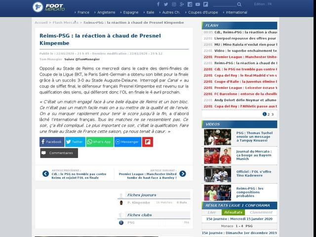 Reims-PSG : la réaction à chaud de Presnel Kimpembe