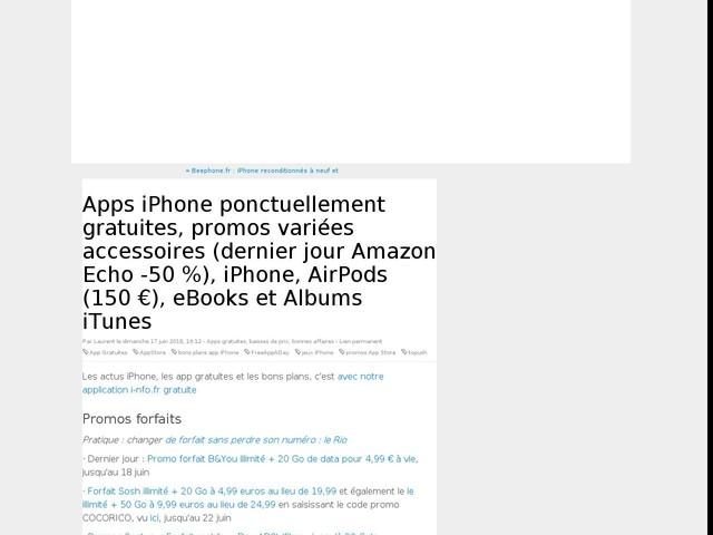 Apps iPhone ponctuellement gratuites, promos variées accessoires (dernier jour Amazon Echo -50 %), iPhone, AirPods (150 €), eBooks et Albums iTunes