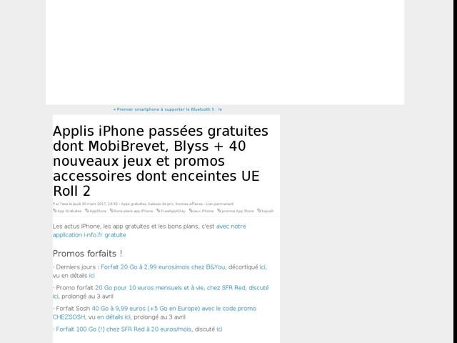 Applis iPhone passées gratuites dont MobiBrevet, Blyss + 40 nouveaux jeux et promos accessoires dont enceintes UE Roll 2