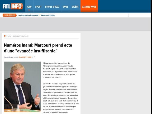 """Numéros Inami: Marcourt prend acte d'une """"avancée insuffisante"""""""