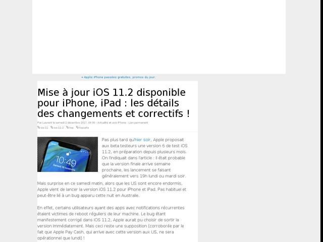 Mise à jour iOS 11.2 disponible pour iPhone, iPad : les détails des changements et correctifs !