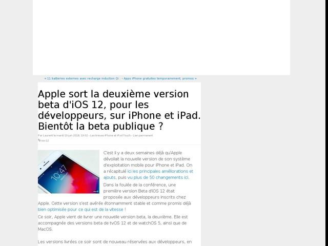 Apple sort la deuxième version beta d'iOS 12, pour les développeurs, sur iPhone et iPad. Bientôt la beta publique ?