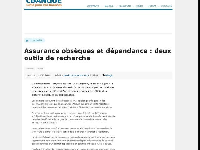 Assurance obsèques et dépendance : deux outils de recherche