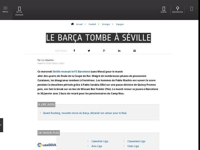 Football - Etranger - Le Barça tombe à Séville
