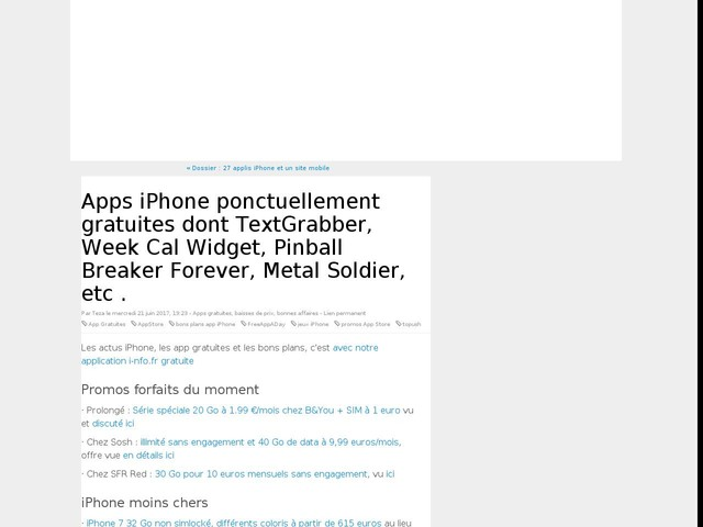 Apps iPhone ponctuellement gratuites dont TextGrabber, Week Cal Widget, Pinball Breaker Forever, Metal Soldier, etc .