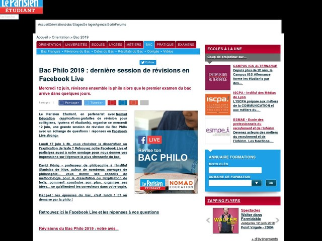 Bac Philo 2019 : dernière session de révisions en Facebook Live