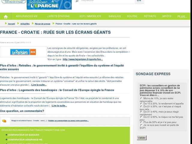 France - Croatie : ruée sur les écrans géants