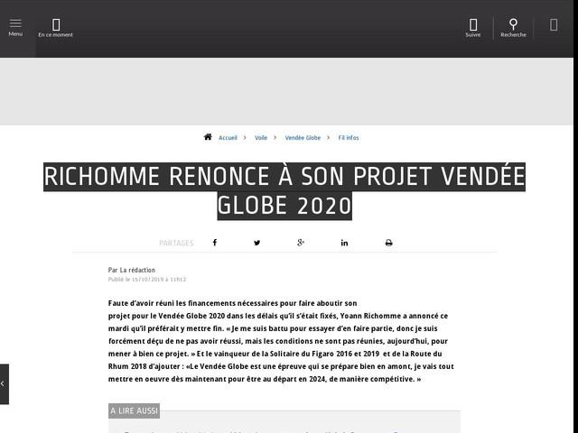 Voile - Vendée Globe - Richomme renonce à son projet Vendée Globe 2020