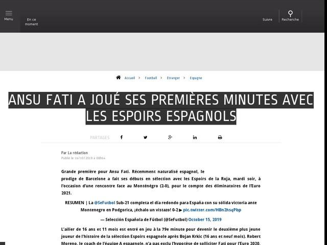 Football - Etranger - Ansu Fati a joué ses premières minutes avec les Espoirs espagnols