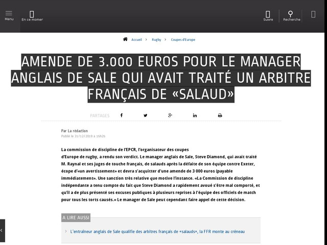 Rugby - Coupes d'Europe - Amende de 3.000 euros pour le manager anglais de Sale qui avait traité un arbitre français de «salaud»